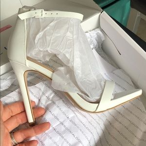 White strappy high heels